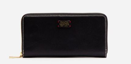 Plain Leather Logo Long Wallets
