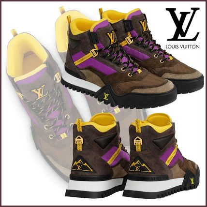 Louis Vuitton Sneakers Mountain Boots Blended Fabrics Street Style Bi-color Leather