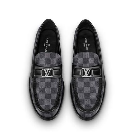 Louis Vuitton Loafers & Slip-ons Other Check Patterns Plain Toe Loafers Blended Fabrics 8