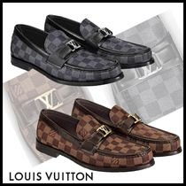 Louis Vuitton DAMIER Other Check Patterns Plain Toe Loafers Blended Fabrics