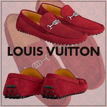 Louis Vuitton Plain Toe Loafers Blended Fabrics Plain Leather