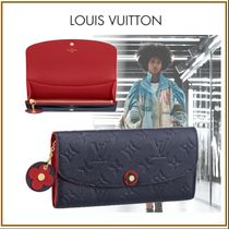Louis Vuitton PORTEFEUILLE EMILIE Monogram Blended Fabrics Studded Bi-color Chain Leather