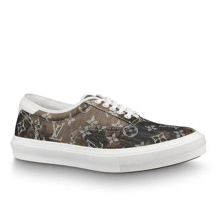 Louis Vuitton Sneakers Monogram Blended Fabrics Street Style Bi-color Leather 2