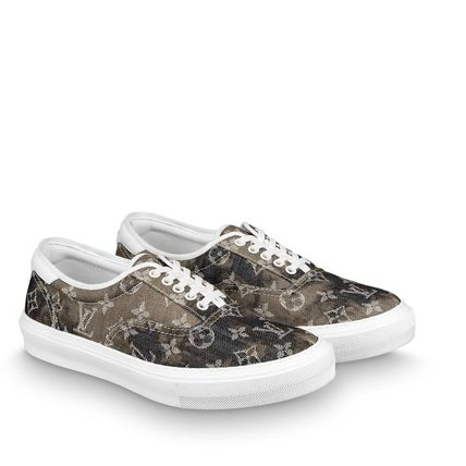 Louis Vuitton Sneakers Monogram Blended Fabrics Street Style Bi-color Leather 3