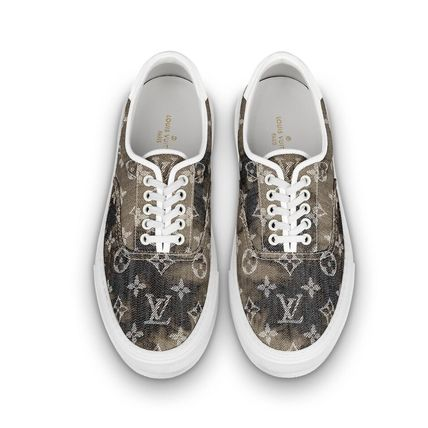 Louis Vuitton Sneakers Monogram Blended Fabrics Street Style Bi-color Leather 4