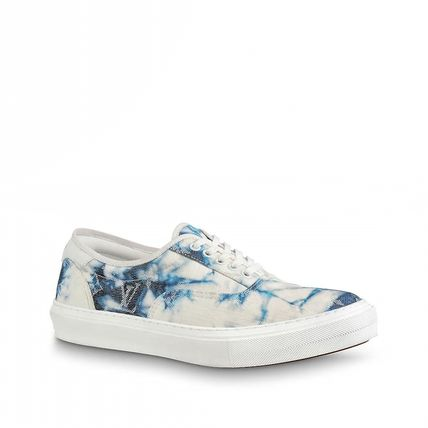 Louis Vuitton Sneakers Monogram Blended Fabrics Street Style Bi-color Leather 6