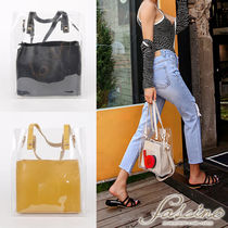 Casual Style Bag in Bag 2WAY Plain PVC Clothing