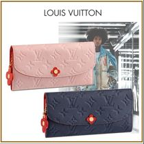 Louis Vuitton PORTEFEUILLE EMILIE Monogram Blended Fabrics Studded Chain Leather Long Wallets