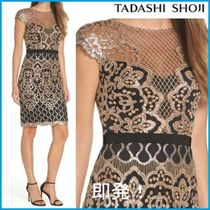 TADASHI SHOJI Crew Neck Tight Medium Short Sleeves Lace Elegant Style