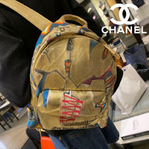 CHANEL Unisex Canvas Chain Backpacks