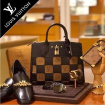 Louis Vuitton CITY STEAMER Monogram 2WAY Leather Elegant Style Handbags