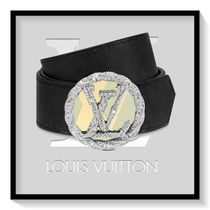 Louis Vuitton Monogram Blended Fabrics Leather Elegant Style Belts