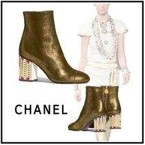 CHANEL 2019-20AW SHORT BOOTS gold & black short boots & booties