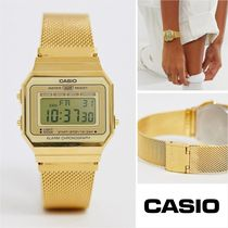 CASIO Casual Style Unisex Square Stainless Digital Watches