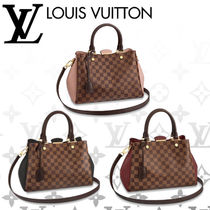 Louis Vuitton MONTAIGNE Other Check Patterns Blended Fabrics A4 2WAY Leather