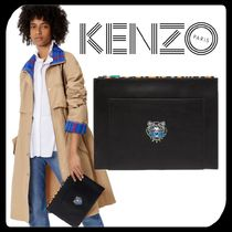 KENZO Unisex Street Style A4 Plain Other Animal Patterns Leather