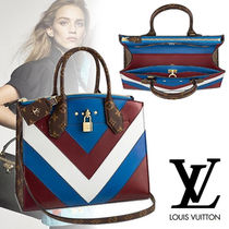 Louis Vuitton CITY STEAMER Monogram Calfskin Blended Fabrics 3WAY Bi-color
