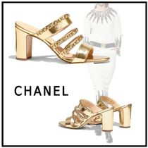 CHANEL 2019-20AW MULE gold sandals
