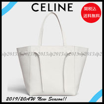 CELINE Cabas Phantom Unisex Calfskin Blended Fabrics Bag in Bag A4 Plain