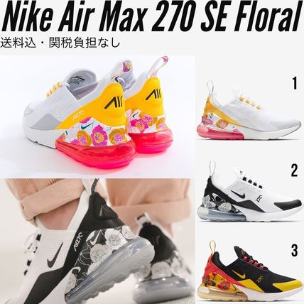 Nike AIR MAX 270 2019 20AW Flower Patterns Round Toe Rubber Sole Casual Style (AR0499 100, AR0499 005, AR0499 101)