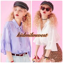 ELF SACK Casual Style Plain Puff Sleeves Shirts & Blouses