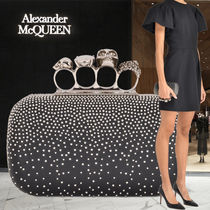 alexander mcqueen Skull Studded Leather Clutches