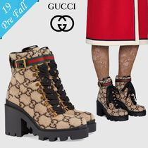 GUCCI Platform Plain Toe Bi-color High Heel Boots