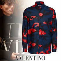 VALENTINO Camouflage Street Style Long Sleeves Cotton Shirts