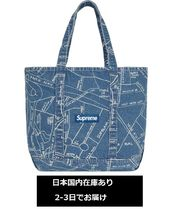 Supreme Unisex Denim Street Style Collaboration A4 Totes