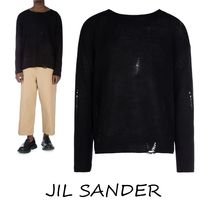 Jil Sander Crew Neck Cashmere Low Gauge Long Sleeves Plain