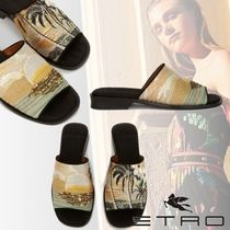 ETRO Flower Patterns Tropical Patterns Open Toe Leather