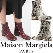 Maison Martin Margiela Tabi Plain Leather Block Heels Python Bold Ankle & Booties Boots