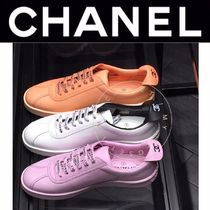 CHANEL SPORTS Unisex Blended Fabrics Street Style Plain Leather Sneakers