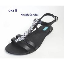 Oka b Open Toe Blended Fabrics Studded Plain With Jewels Sandals