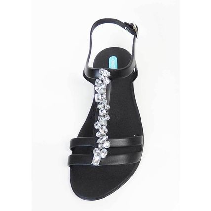 Open Toe Blended Fabrics Studded Plain With Jewels Mules