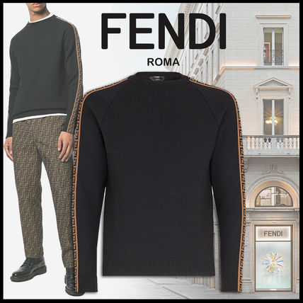 FENDI Knits & Sweaters Crew Neck Pullovers Monogram Wool Long Sleeves Plain
