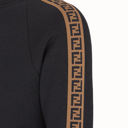 FENDI Knits & Sweaters Crew Neck Pullovers Monogram Wool Long Sleeves Plain 4