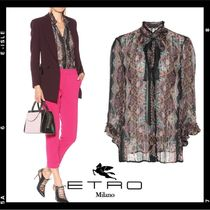 ETRO Paisley Silk Tassel Medium Elegant Style Puff Sleeves