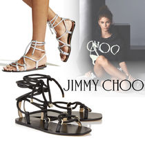 Jimmy Choo Lace-up Casual Style Leather Sandals
