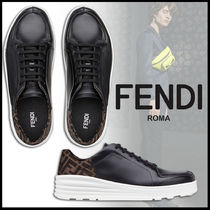 FENDI Monogram Plain Leather Sneakers