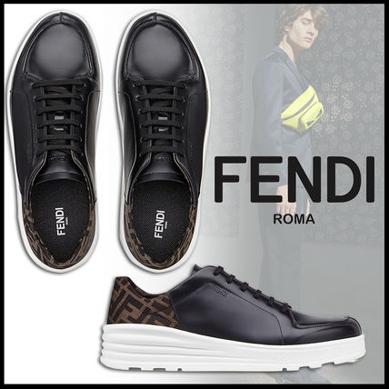 FENDI Sneakers Monogram Plain Leather Sneakers