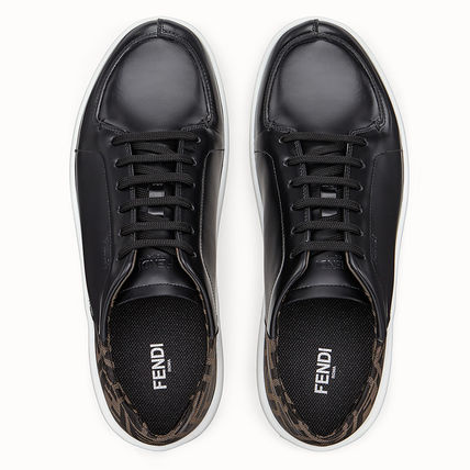 FENDI Sneakers Monogram Plain Leather Sneakers 5