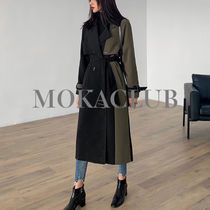 Stand Collar Coats Casual Style Unisex Plain Long