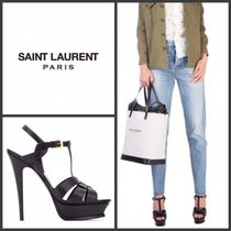 Saint Laurent Open Toe Casual Style Plain Leather Pin Heels Heeled Sandals