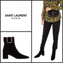 Saint Laurent Plain Leather Block Heels Ankle & Booties Boots