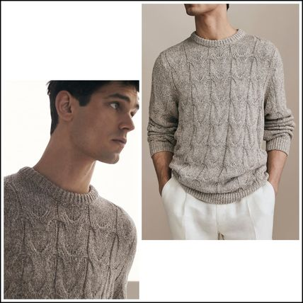 Crew Neck Cable Knit Linen Long Sleeves Plain