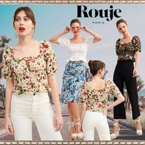 Rouje Casual Style Puffed Sleeves Plain Cotton Shirts & Blouses