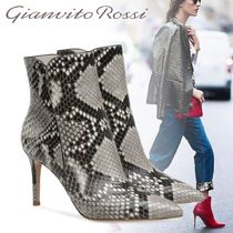 Gianvito Rossi Leather Pin Heels Python Elegant Style Ankle & Booties Boots