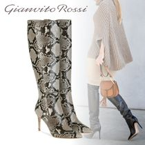 Gianvito Rossi Leather Pin Heels Python High Heel Boots
