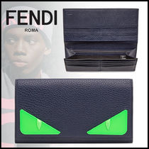 FENDI BAG BUGS Calfskin Street Style Plain Long Wallets